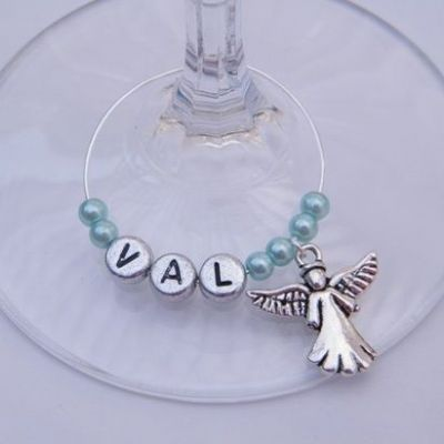 Angel Personalised Wine Glass Charm
